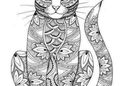 gato mandala colorear