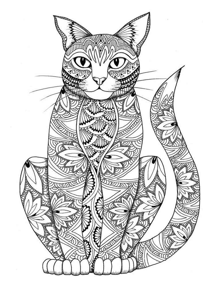 hard cat design coloring pages - photo#19