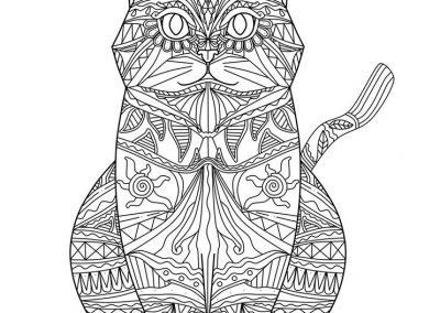 gato mandala para colorear